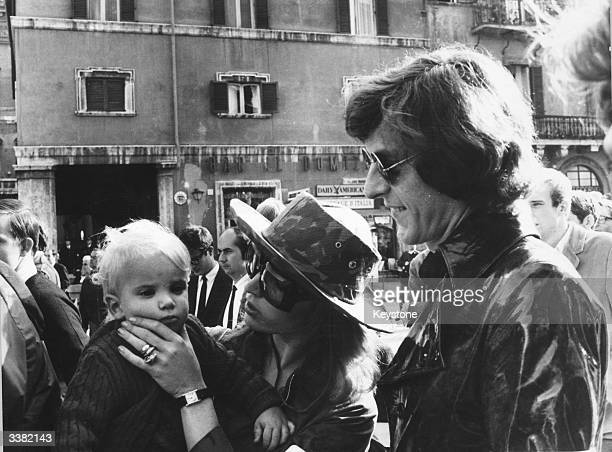 John Paul Getty Jnr son of the petroleum multimillionaire with his second wife Talitha Pol and their son Francesco attending a march in Rome in...