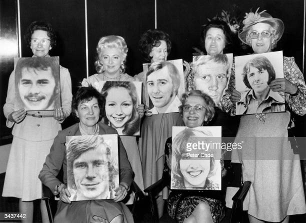 Seven of the 33 mothers of famous personalities who were guests of honour at a Mother's Day lunch at the Tower Hotel London held by the Greeting Card...