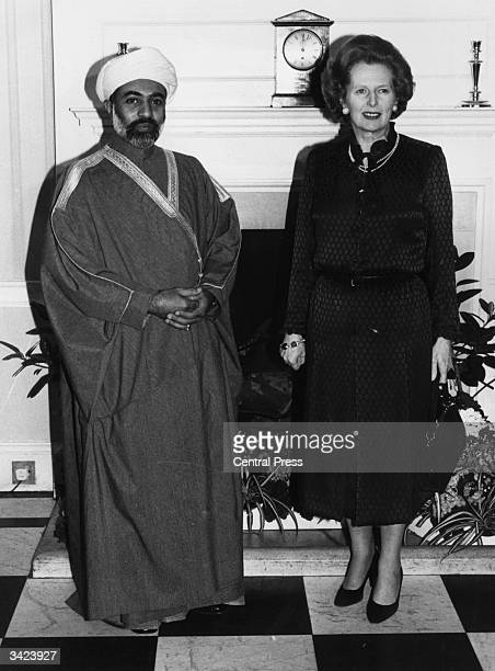 The Sultan of Oman, Qaboos Bin Said Al Said with the British Prime Minister Margaret Thatcher inside 10 Downing Street, London, where they are having...