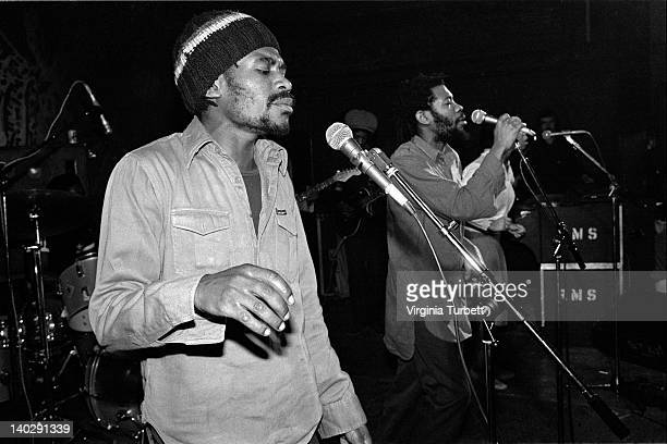 British reggae band Misty In Roots perform live on stage during a Rock Against Racism tour gig on 17th March 1979