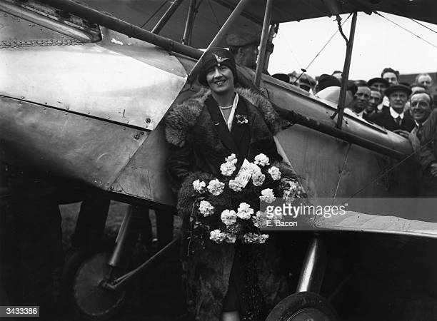 Sophie Mary Heath after landing at Croydon airfield and becoming the first woman to fly from Capetown to Europe