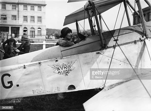 Sophie Mary Heath landing at Croydon airfield after becoming the first woman to fly from Capetown to Europe