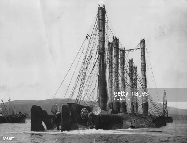 The German dreadnought 'Kaiserin' and the huge air locks used to raise her at Scapa Flow This is one of many German ships sunk by her crew in Scapa...
