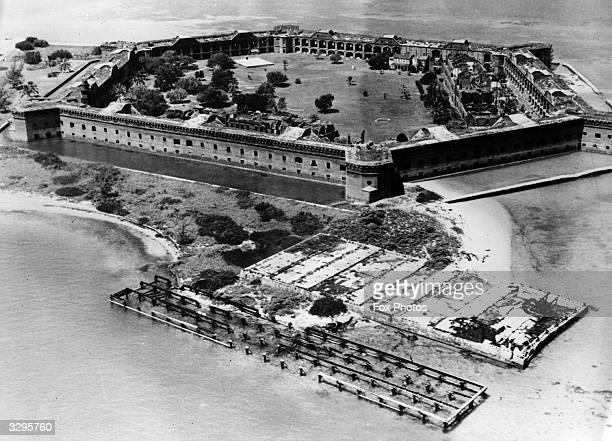 Fort Jefferson built on an island was the largest coastal fort in the USA and featured in the Civil War where Captain Blood battled the Yellow Fever