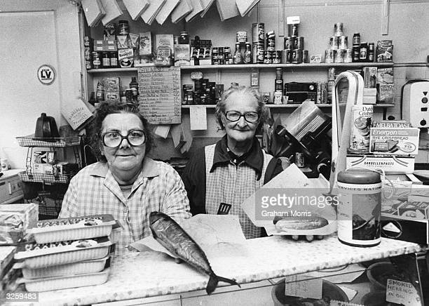 Lilly Richards and Lilly Cooper in their delicatessen in Brewer St Soho London