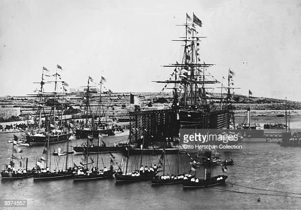 Sailing ships at the opening ceremony of the Suez Canal.