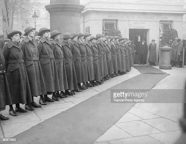 Women's Army Auxiliary Corps line up for inspection outside the Ministry of Labour