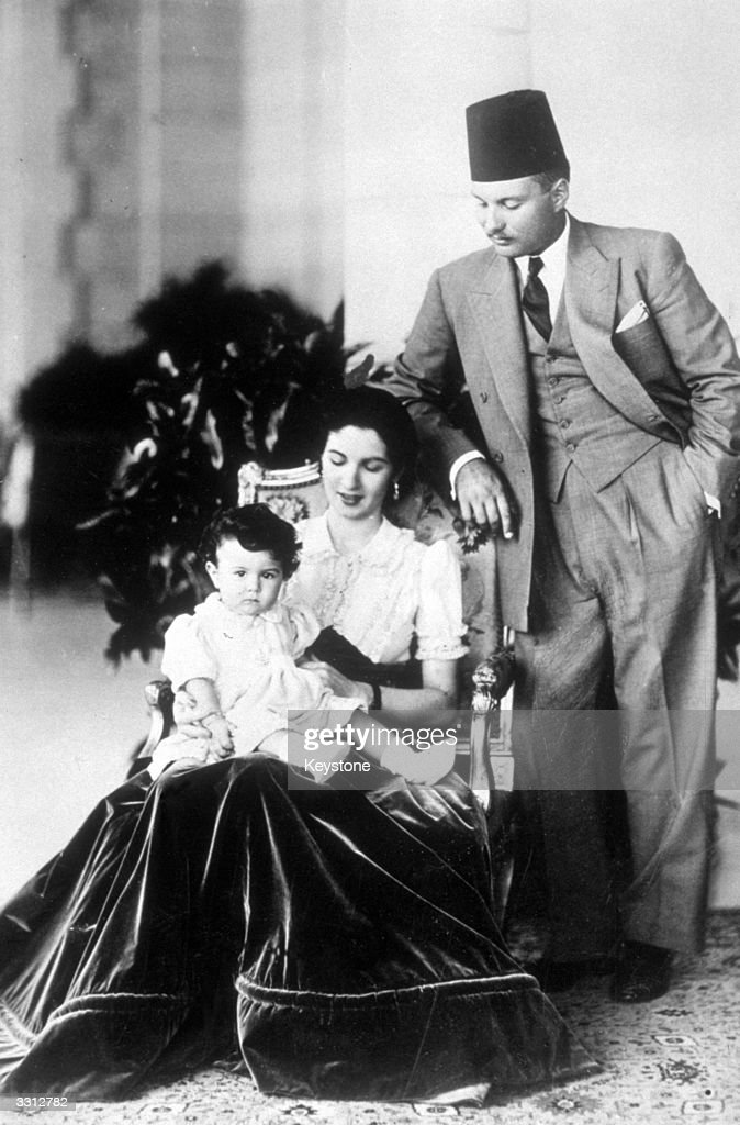 Farouk I, (1920 - 1965), the last King of Egypt, (1937 - 1952), with his wife Queen Farida and their one-year-old daughter Princess Ferial.
