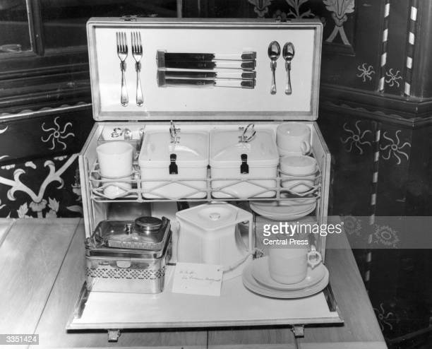 A luxurious picnic box set which was a wedding gift from Princess Margaret to her sister Princess Elizabeth when she married Prince Philip...