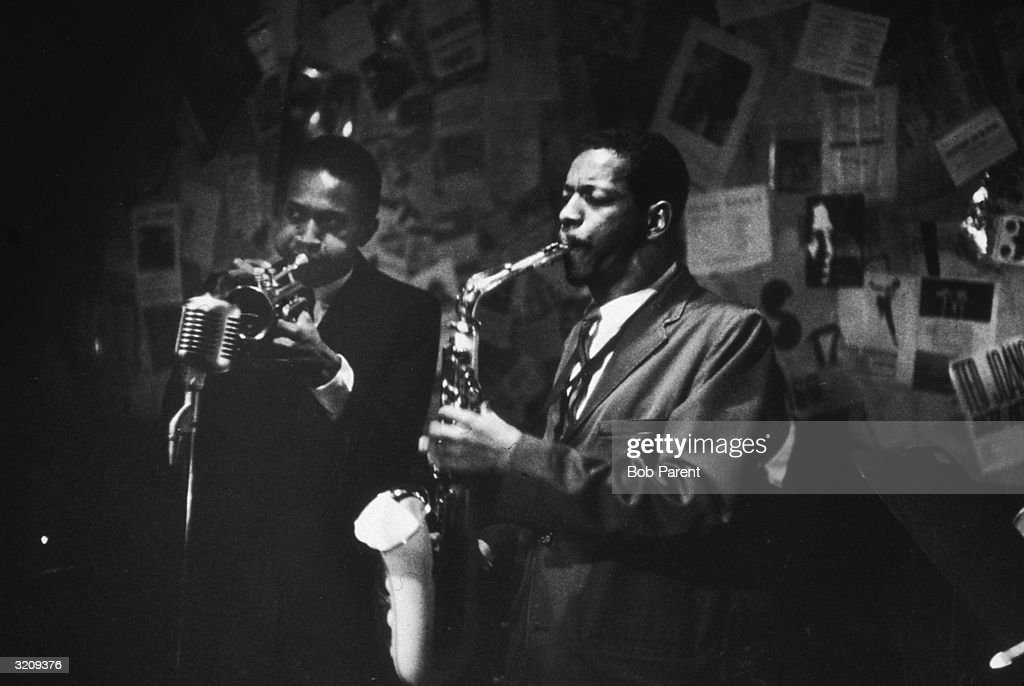 Ornette Coleman plays the saxophone and Don Cherry (1936-1995) plays the trumpet at the 5 Spot Cafe, New York City.