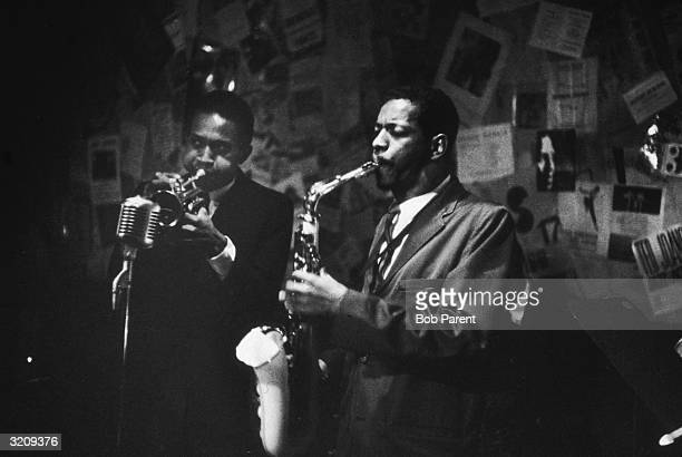 Ornette Coleman plays the saxophone and Don Cherry plays the trumpet at the 5 Spot Cafe New York City
