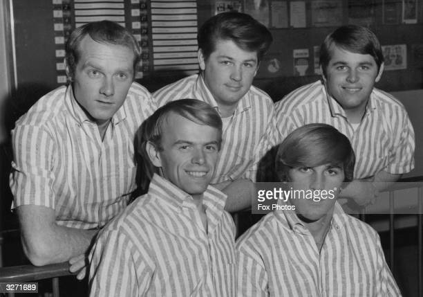 American pop group The Beach Boys in 1964. From left to right, Mike Love, Al Jardine, Brian Wilson, Dennis Wilson and Carl Wilson .