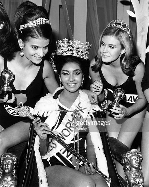 Miss India, Reita Faria is crowned Miss World 1966 at the Lyceum Theatre, London. Beside her are runners-up Miss Greece and Miss Yugoslavia , who...
