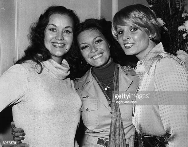 From left to right, former Miss Worlds; Kiki Haakonson, Sweden, 1951; Rosemarie Frankland, UK, 1961; and Belinda Green, Australia at the 1975 Miss...