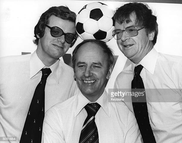 Michael Grade with Brian Moore and John Bromley after the announcement that ITV had secured exclusive coverage of League football