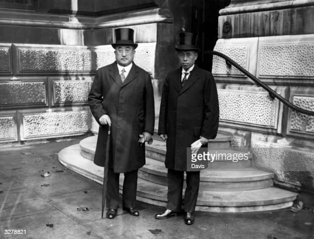 Isoroku Yamamoto originally Takano naval officer and rear admiral is with Tsuneo Matsudaira the Japanese Ambassador in London