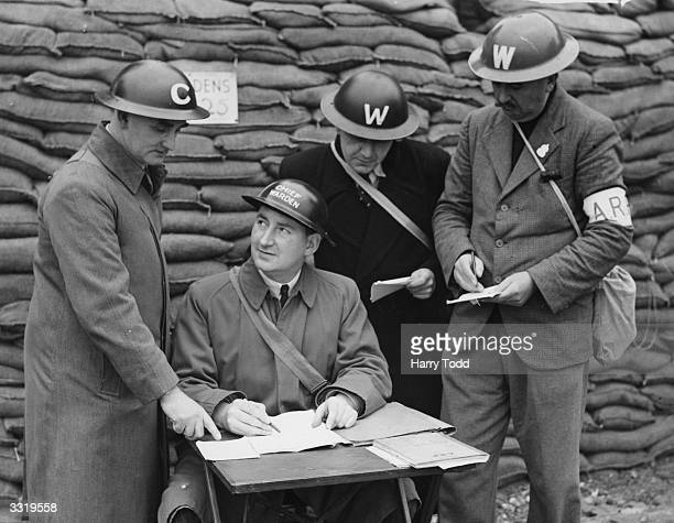 Councillor J A Da Palma chief air raid warden for the borough of Fulham London at his post He is to become the next Mayor of Fulham