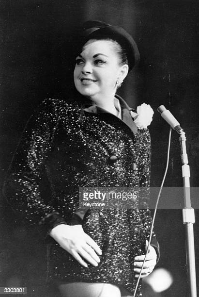 Hollywood entertainer Judy Garland 'Miss Showbusiness' as she is known performing at the opening of her new show at the Dominion theatre in London