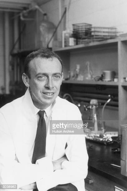 American biochemist Dr James Dewey Watson seated in his lab at Harvard University Massachusetts He shared the 1962 Nobel Prize in medicine for the...