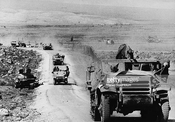 An Israeli armoured column on its way into Syria during the Yom Kippur War between Israel and Egypt and Syria