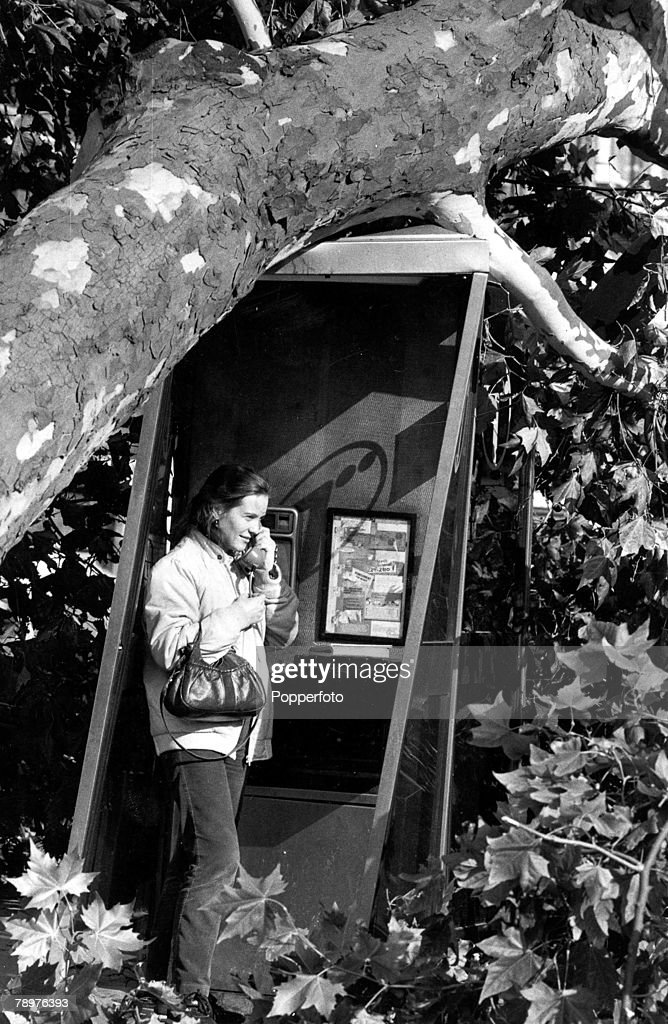 17th October 1987, Britain recovers from its worst storm in 300 years, Picture shows a woman who has found a telephone box still in working order outside the Victoria and Albert museum in London despite it being partly crushed by a large gale felled tree, At least 13 people were killed across the country
