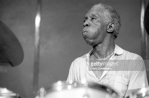 jazz drummer Art Blakey performs live on stage at the BimHuis in Amsterdam Netherlands on 17th October 1986