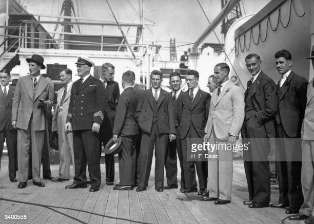 Members of the MCC cricket team aboard the liner 'Orontes' at Tilbury, en route for Australia Walter Hammond, Douglas Jardine , Brown, Bowes,...