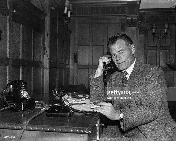 Jimmy Trotter newlyappointed manager of Charlton Athletic Football Club at his desk at the Valley