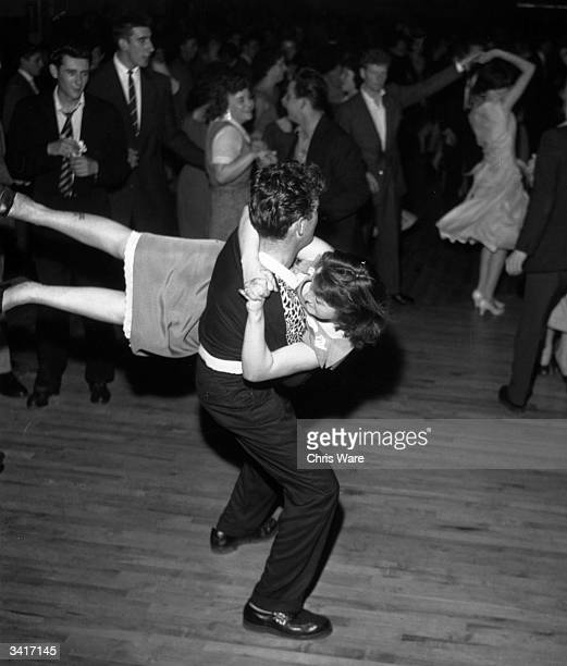 Young couples dancing to rock 'n' roll music at the Thursday 'Rock Night' at Tottenham's Royal Dance Hall London