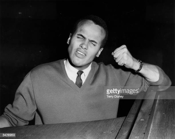 American singer and actor, Harry Belafonte, rehearsing at the Riverside Studios before a BBC appearance.