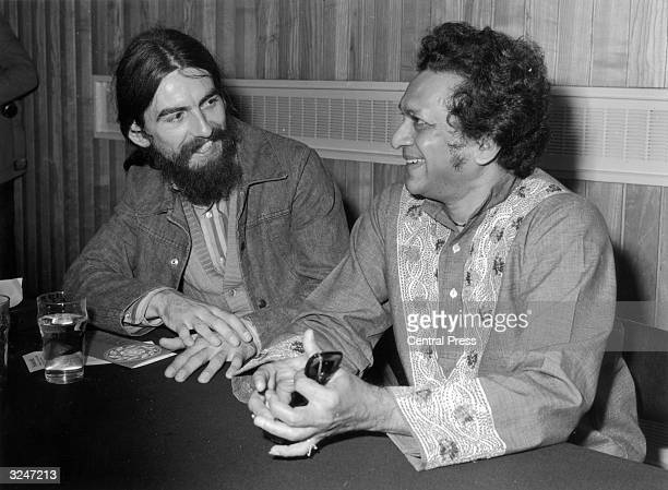 Sitar player Ravi Shankar with his former pupil George Harrison publicising the first ever Indian Festival to be held in Britain
