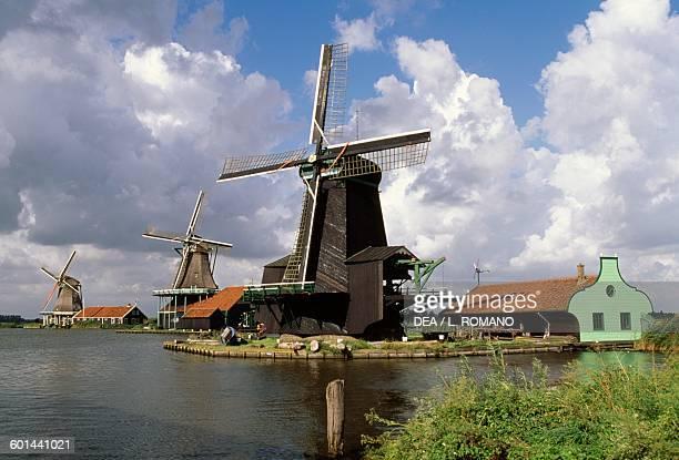 17th18th century windmills Zaans open air museum Zaanse Schans Netherlands