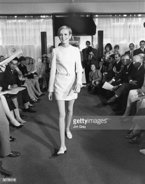 17yearold British fashion model Twiggy wearing her own label in her new West End showroom London 24th May 1967