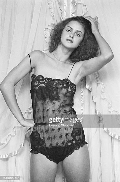 17yearold Debbie Brett models a black lace teddy by Janet Reger at Asprey's in New Bond Street London 10th May 1979