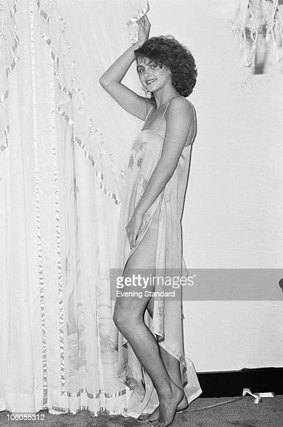 17yearold Debbie Brett models a slip by Janet Reger at Asprey's in New Bond Street London 10th May 1979