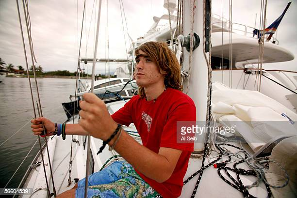 17yearold Zac Sunderland aboard his 36foot sailboat 'Intrepid' in Puerto Vallarta Mexico Zac sought shelter in the port after buckling a bulkhead and...