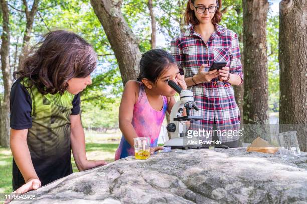17-years-old teenager girl teaching her 9-years-old younger brother and 7-years-old sister how to working with a microscope and learning nature outdoors at the lakeshore in the sunny summer day. - 6 7 years stock pictures, royalty-free photos & images