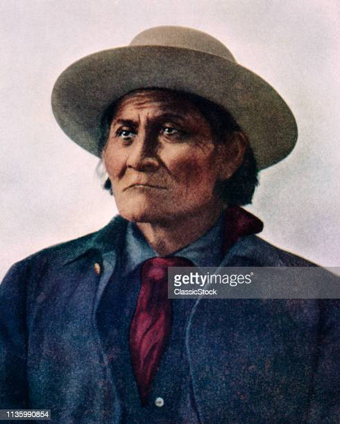1800s 1900s PORTRAIT OF NATIVE AMERICAN INDIAN MESCALERO CHIRICAHUA APACHE LEADER GERONIMO