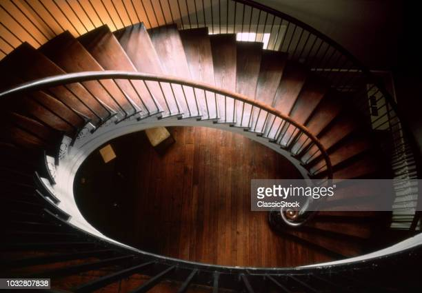 1800s ELLIPTICAL SPIRAL STAIRCASE FROM ABOVE NATHANIEL RUSSELL HOUSE CIRCA 1809 CHARLESTON SOUTH CAROLINA USA