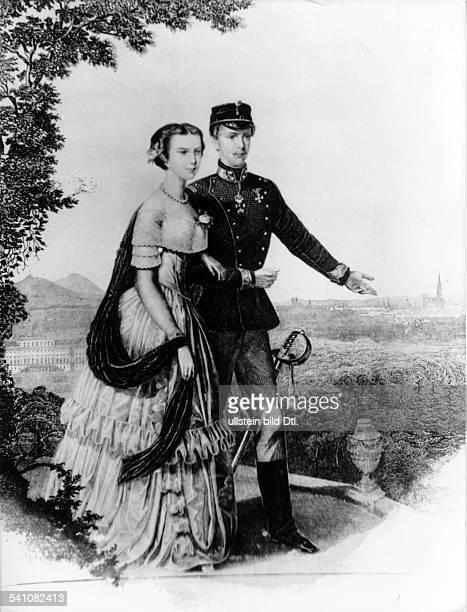 Kaiser von Österreich 1848-1916König von Ungarn seit-1867- mit Kaiserin Elisabeth von Österreich, gen. 'Sissi', beim Spaziergang im Park von...