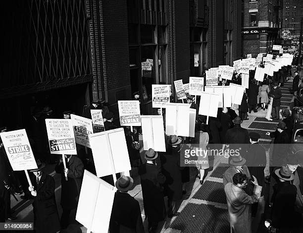 New York, NY- The picketing at the main offices of Western Union gained momentum as the first day of the strike wore on. This afternoon , the...