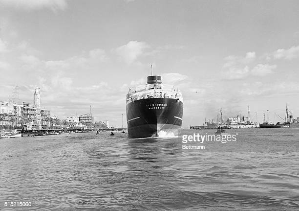 Port Said, Egypt- The Norwegian tanker Eli Knudsen, which had been stranded in the blocked Suez Canal since the Anglo-French invasion, sails out of...