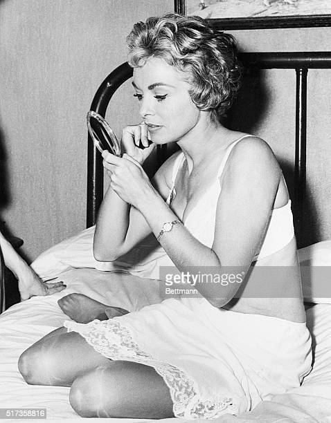 1/8/1960Hollywood CA After a torrid bedroom scene in Alfred Hitchcock's film Psycho actress Janet Leigh makes a few necessary makeup repairs The new...