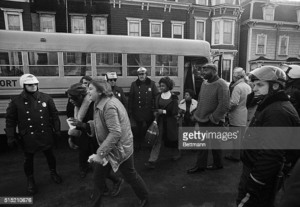 Boston, MA - Busing of students returned as Black children from the Roxbury section of Boston arrived at South Boston High School 1/8 under the...