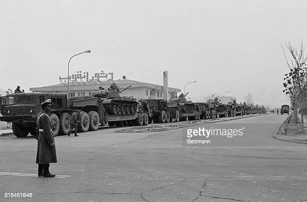 1/8/1981Kabul Afghanistan Soviet tanks arrayed on a downtown Kabul street