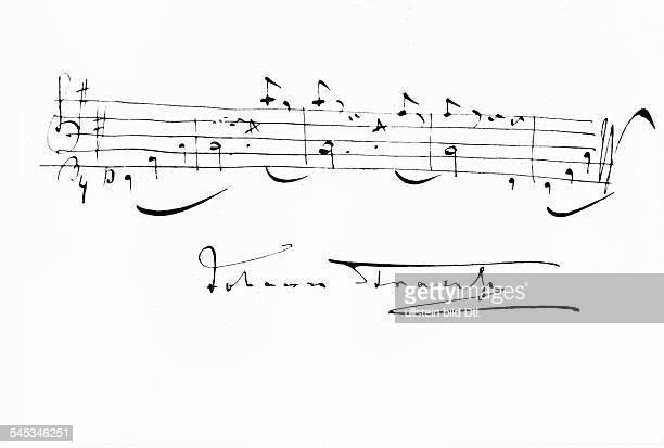 *18251899Musiker Komponist ÖsterreichDie erste Niederschrift der Anfangstakte des Walzers 'An der schönen blauen Donau' undatiert