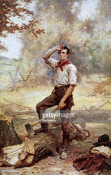 1833The Rail Splitter a painting by JLG Ferris of a young exhausted Abraham Lincoln splitting logs