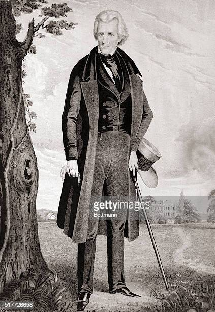 1845Portrait of Andrew Jackson Seventh President of the United States during his retirement at the Hermitage Colored lithograph by Currier and Ives...