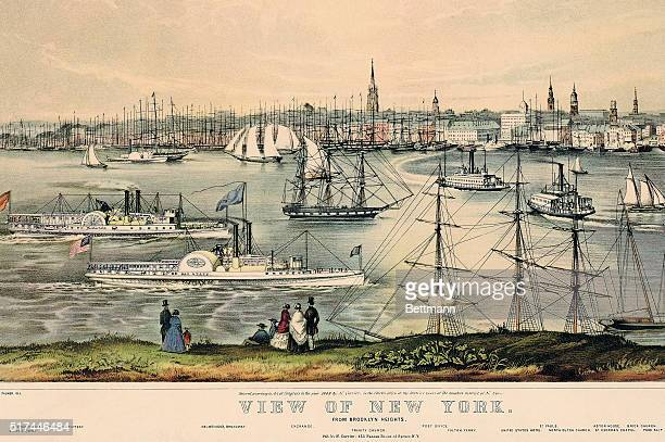 New York, New York: View of New York harbor from Brooklyn Heights including views of Bedlow's Island; the Revenue Office and Light House Battery;...