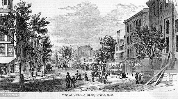 Picture shows a view of Merrimac Street Engraving